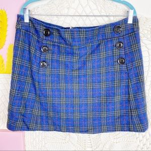 Gap blue plaid button lined mini skirt 14